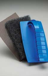 and Pan Scrubber 881 The pot and pan scrubber utilizes heavy fibers and an open weave to help create an aggressive pad for cleaning stubborn bakedon messes.
