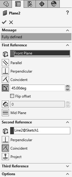 Select the front plane and the horizontal line - Click OK. Starting point (At the endpoint of the centerline). 1 st line 4.