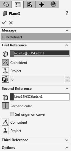 - Add Sketch Fillets of.500 in. to all corners. - Exit the 3D Sketch or press Ctrl+Q. 5. Creating a Perpendicular plane: - Select Insert/Reference Geometry/Plane.