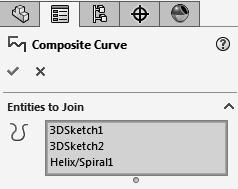 5. Combining the 3 sketches into 1 curve: - Select the Composite Curve command below the