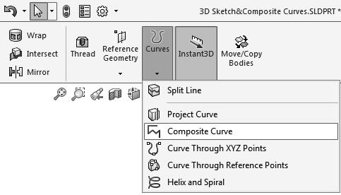 - Select the 3 Sketches either from the Feature Manager tree or directly from the graphics