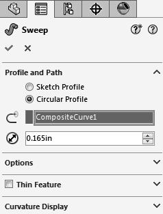 6. Creating a Sweep using Circular Profile: - Select Insert/Boss Base/ Sweep. - Select the Circle Profile option (arrow). - Enter.165 in for the diameter of the sweep profile.