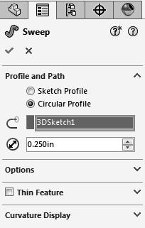 7. Creating the Swept feature: - SOLIDWORKS 2016 introduces the new Circular Profile sweep option.