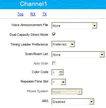 Channel Settings Normally a control radio can have only one channel but if the dispatcher has to talk to different groups that use the same RF channel the radio can use more channel positions but all