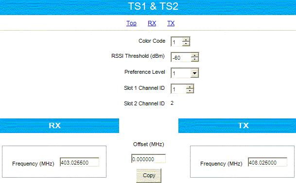 - For the Slot 1 Channel ID field select the value corresponding for each repeater so that it matches the trunking channels order in the radios Voice List.