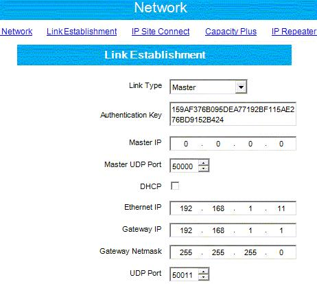 Figure 95 Linked Capacity Plus Repeaters Network Settings Master site) Peer (from another For the Master repeater use the following network settings in the Link Establishment section: - Select for