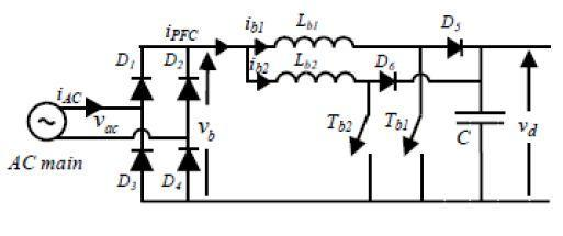 3.3.2 Single phase rectifier circuit with dual boost converter To avoid low dynamic response and power factor correction issue, two converters can be connected in Parallel to form the parallel PFC