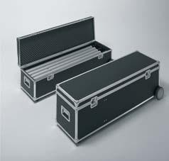 Components, including three 150-watt spotlights and a power cable, are positioned in the carry case, whilst the