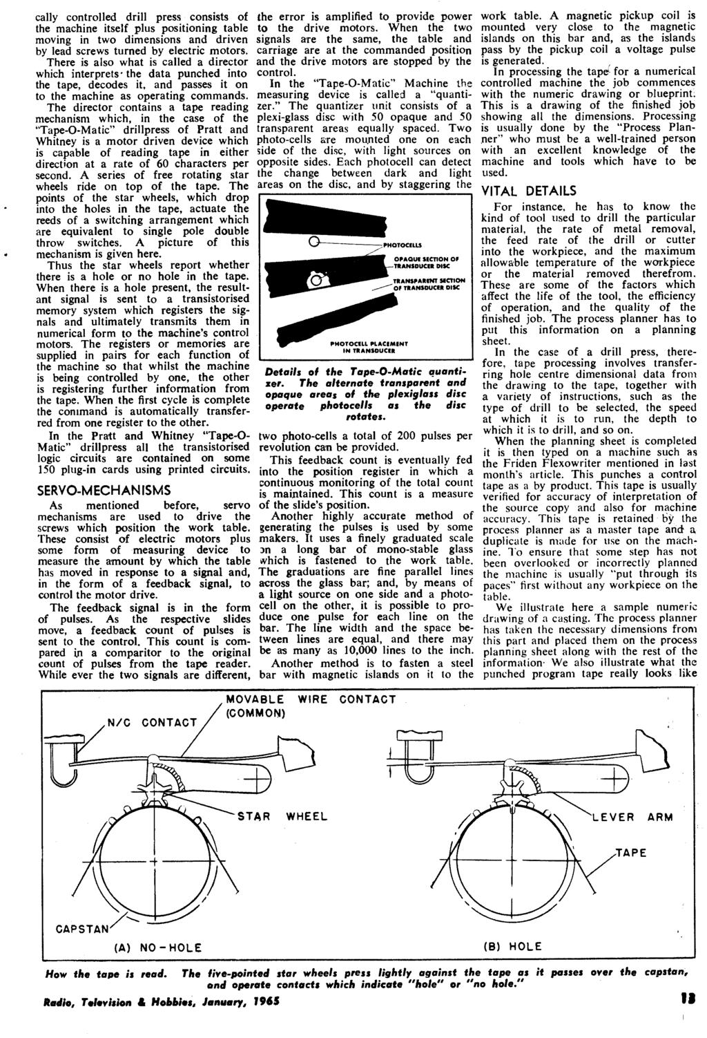 January 1965 Radio 26 Vol No 10 Television Panther 110 Rx5 Wiring Diagram Cally Controlled Drill Press Consists Of The Machine Itself Plus Positioning Table Moving In Two Dimensions