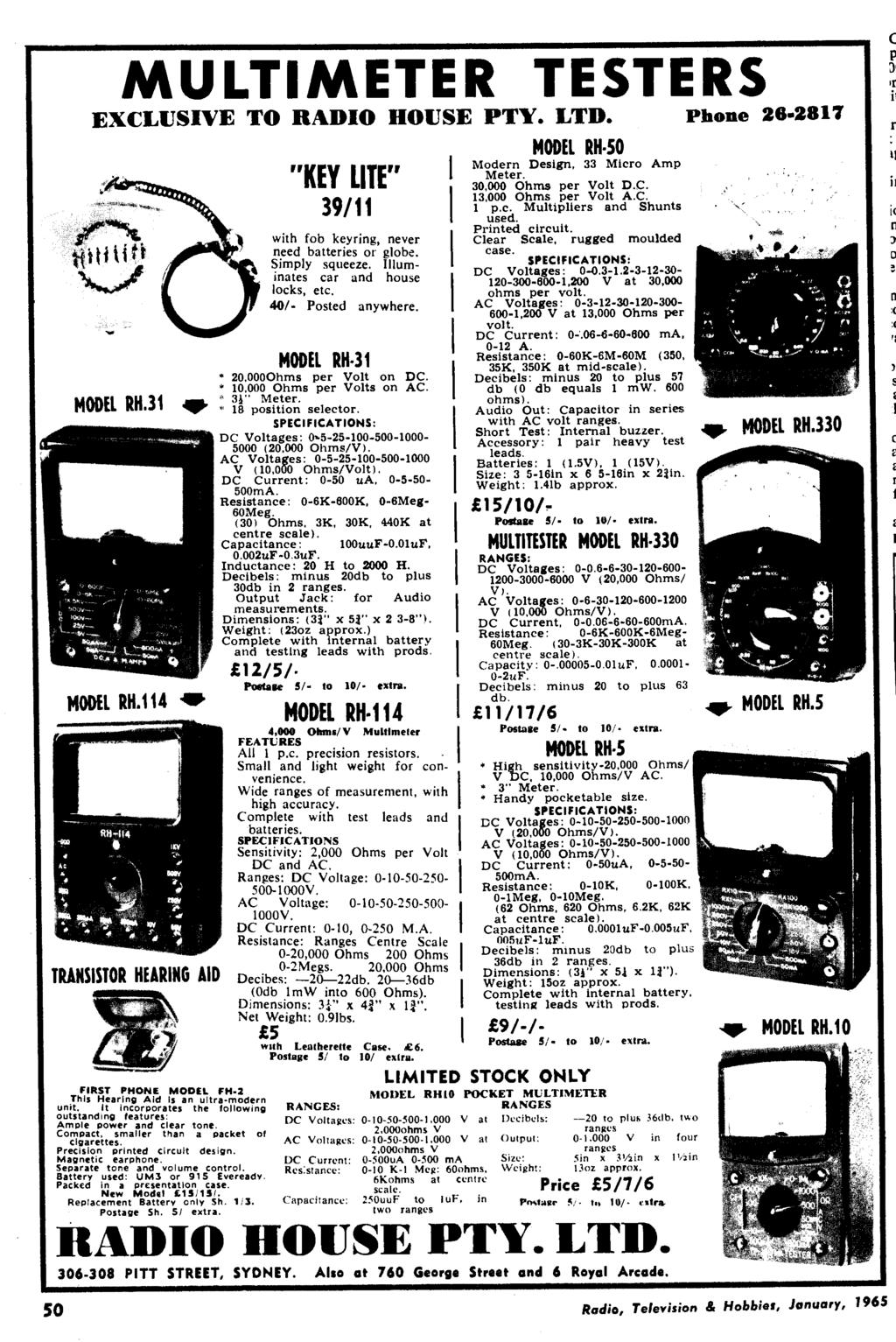 January 1965 Radio 26 Vol No 10 Television Panther 110 Rx5 Wiring Diagram Multimeter Testers Exclusive To House Pty Ltd Phone 2817 Model Rh