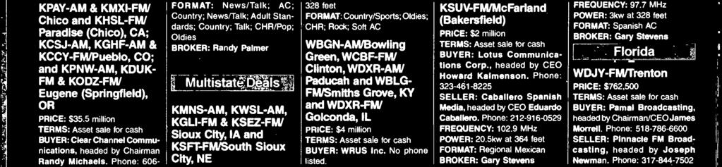 5kw at 328 feet FORMAT: Country/Sports; Oldies; CHR; Rock; Soft AC WBGN -AM/Bowling Green, WCBF -FM/ Clinton, WDXR-AW Paducah and WBLG- FM/Smiths Grove, KY and WDXR-FW Golconda, L PRCE: $4 million