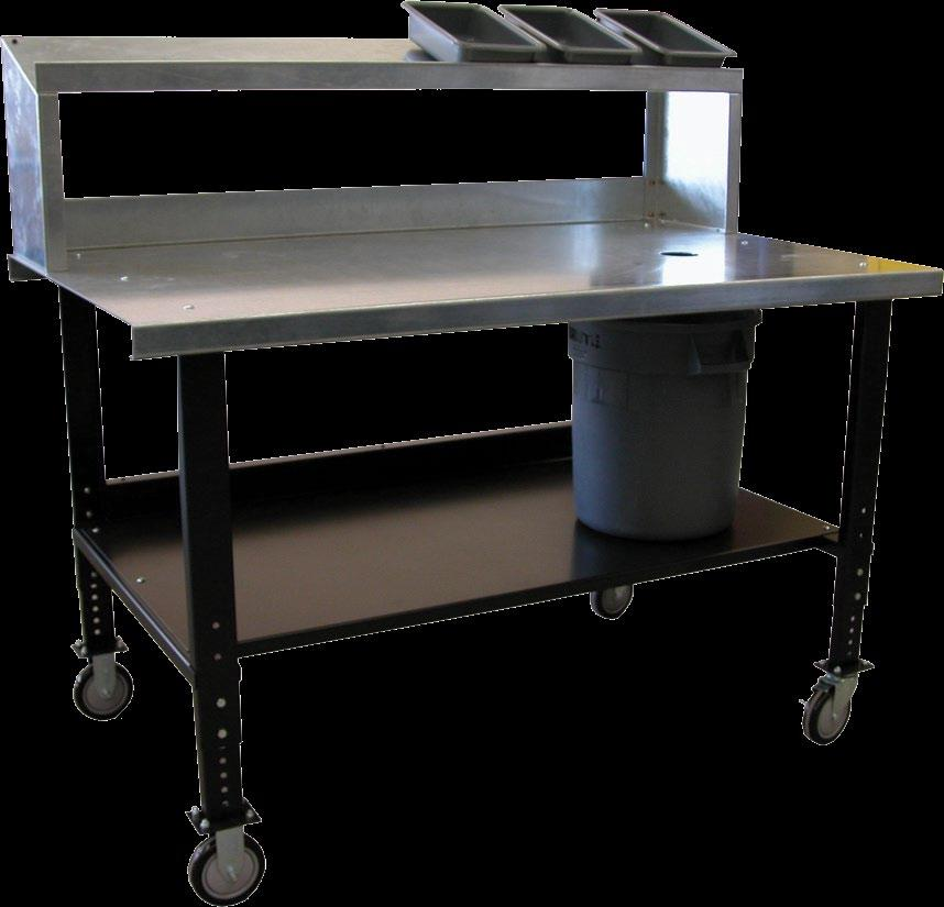 The sturdy formed channel base features a galvanized steel work surface and upper riser shelf.