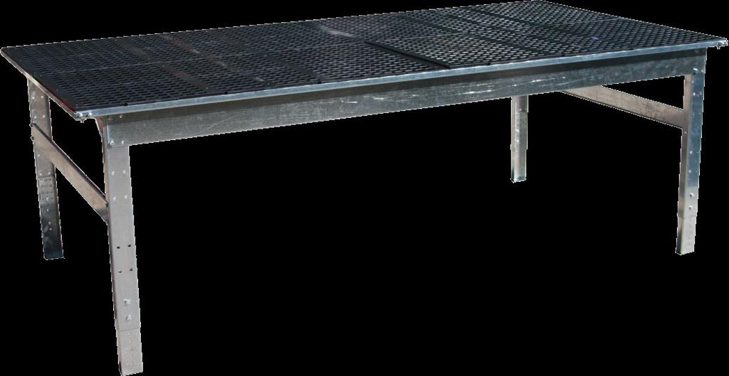 Greenhouse Tables Growing Tables Growing tables feature a 13 gauge galvanized steel base frame with work surface supports. Sturdy formed channel adjustable height legs with floor anchor pads.