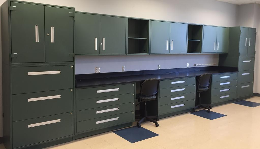 Cabinets & Mobile Benches One Piece Shell Interior Security Lip 4 H Recessed Toe Kick Solid Top & Bottom Panels All Welded Construction Floor Leveler Feet DT-Series Modular Cabinets Our Dura-Tech