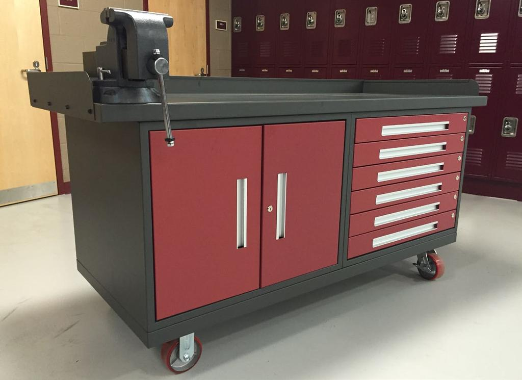All drawer components are formed from 18 gauge furniture grade steel and have easy access recessed aluminum handles. Cylinder style locks keep contents secure.