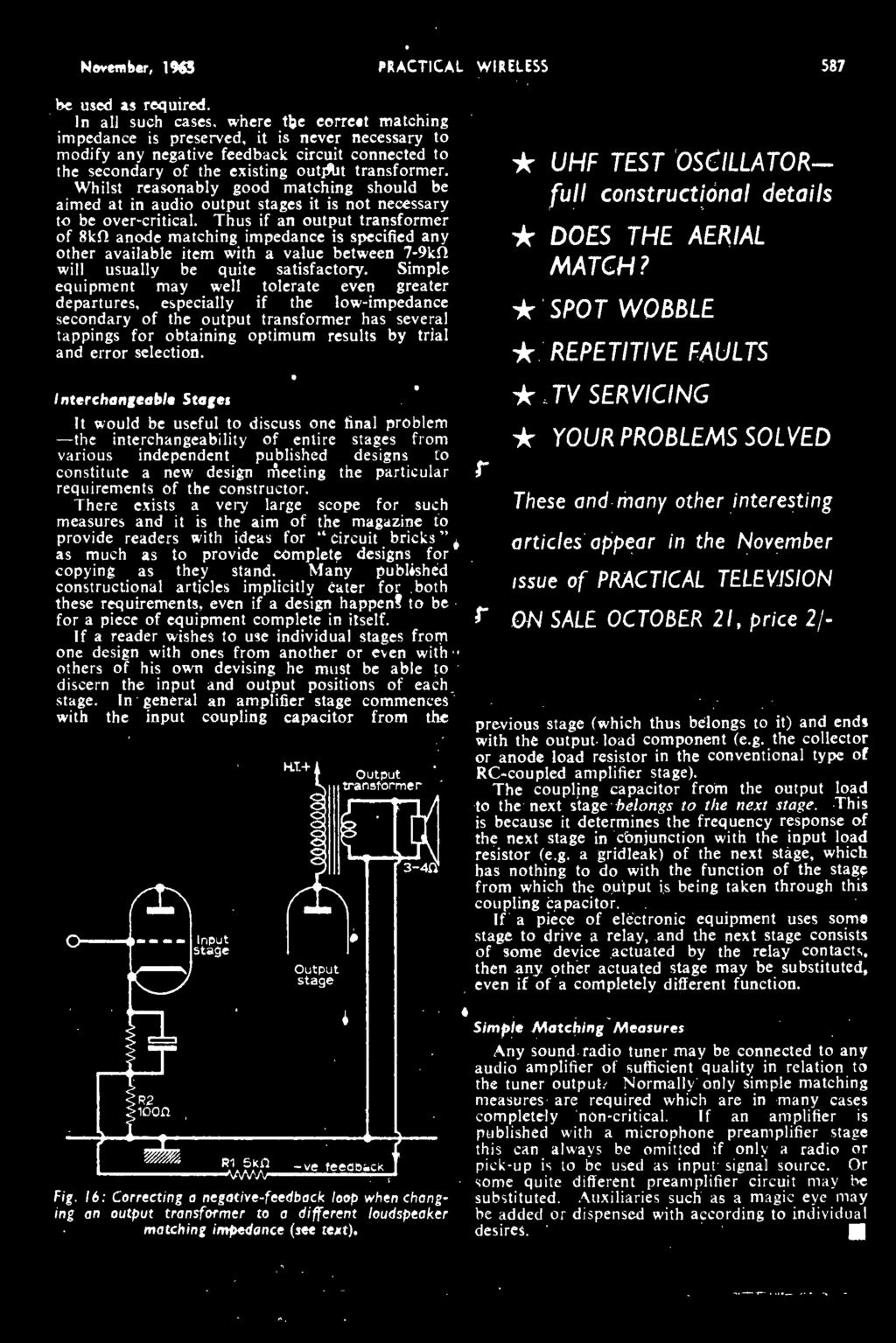 W I Reless Free Inside Miniature Af November 1965 Ohms Law Vr6 Wiring Diagram Hi Have A 02 It Will Not Fire On 1two New 1963 Practical Wireless 587 Be Used As Required