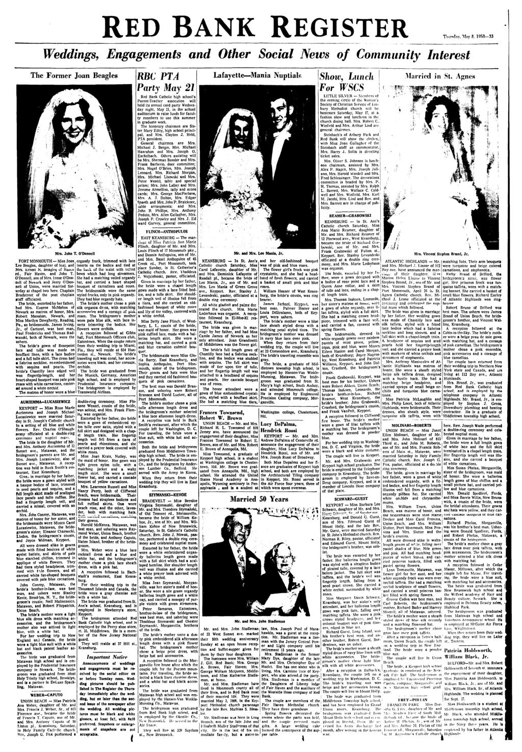 RED BANK REGISTER Thnriday, May 8 : 1958 33 Weddings, Engagements and Other Social News of Community Interest The Former Joan Beagles Mrs. John T.
