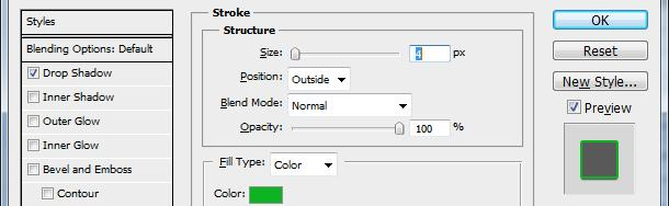 5. In the Structure area of the Layer Styles dialog box, specify the following