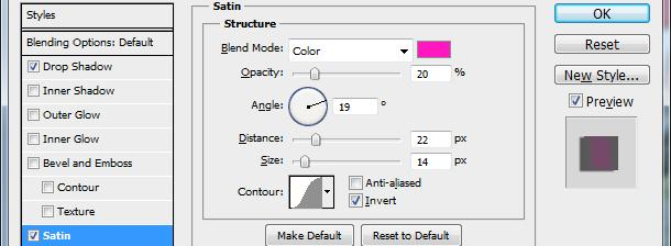 With the Layer Style dialog box still open, select Satin option on the left. 9.