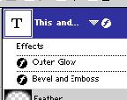 An symbol appears to the right of the type layer s name in the Layers palette, indicating that a