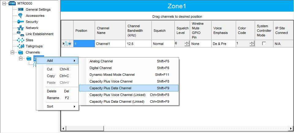 Configuring MOTOTRBO Equipment In the left pane, right-click the channel you have added and from the dropdown menu select Rename, or select the channel and just press F2 on the keyboard.