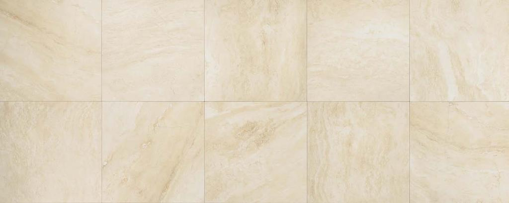 "24 x24 T.CREAM Porcelain Stoneware Floor Wall V2 Slight Variation BOT 3000 compliant Thickness 3/8"" (9mm) NO V.O.C Frost Proof Low water absorption (<0,5%) Made in Usa DECORS TRIMS Composizione M AR."