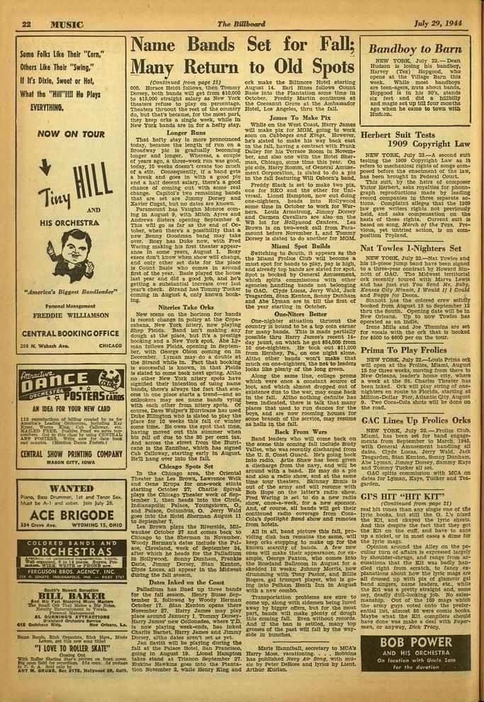 "22 MUSIC The Billboard July 29, 1911 Some Foils like Their ""Corn,"" Others like Their ""Swing,"" II ll's Dille, Sweet or Hot, Whet the EVERYTHINO. ""iii11""11!"