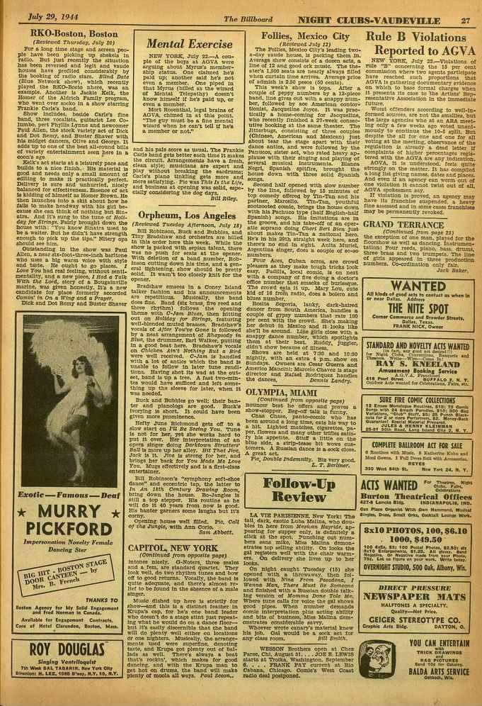 . 1000, I, July 29, 1944 RKO-Boston, Boston (fterfeved Thuredcy, July 20) For a long time stage arid screen people have been picking up shekels in radio.
