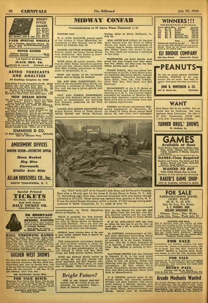 ". FOR 38 CARNIVALS The Billboard July 29, 1944 PENNY PITCH GAMES 14,4 PS.. 140.00. Mu WA/. t Joi Pm. 14000. IrIs6 IS Jut. Poo.. 545.00. [ itzs PARK SPECIAL WHEELS 20"" In Dlunmi... 111.6...14.07 1.5.4W."