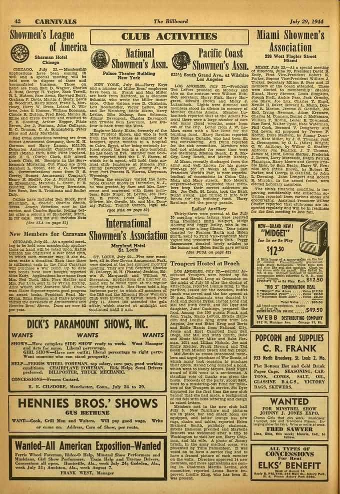 42 CARNIVALS The Billboard July 29, 1944 Showmen's League of America Sharman Holed Chicago CHICAGO. July 22.