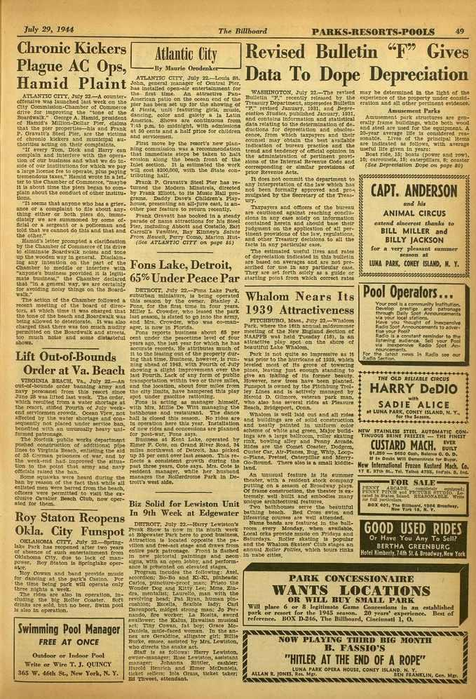 'July 29, 1944 The Billboard PARKS -RESORTS -POOLS 49 Chronic Kickers Plague AC, Ops, Hamad Plaint ATLANTIC CITY, July 22-A counteroffenaive was launched last week on the City Commlueon-Chamber of