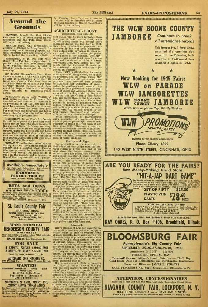 !or 29, 19 f The Billboard FAIRS -EXPOSITIONS 53 Around the Grounds 12XADF.P., Is.-At the 1944 Elkeeke Fair there will be horse racing on two afterneona and the Twin River Shows will be on the midway.