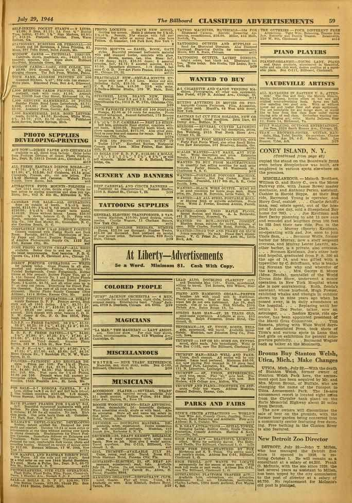 "July 29, 1944 The Billboard CLASSIFIED ADVERTISEMENTS 59 pocklre STAM /1. 00; Rea 111.21; ZA roopst t.t.` /NO,. Morel TOMMIE - 'tarn agar moor!. Trio, toiler. 0/.06: 116"" Slot SAAR.. $1014 00 11s010 1."