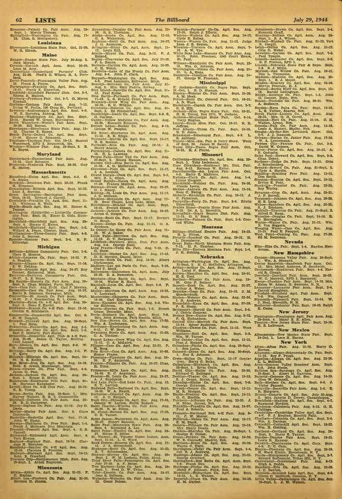 OtL 62 LISTS The Billboard July 29, 1944 Somersat-Polinti Co Ten Aram Aug, 2,17-8ept 1. wrens Tbusu. DpungC11-Witrom_mort co. Pair. Aug. 17. IS. Chas B. Montgomery.