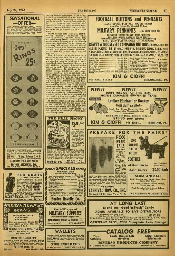 July 29, 1944 The Billboard 'MERCHANDISE 67 SENSATIONAL -OFFER- Nem. Arantiftl ()NIX nrccs to.04311 for only rte. MonSteed of 1)3onstonts inn 4e4s11 Ire IS. 1 1). A.sort.