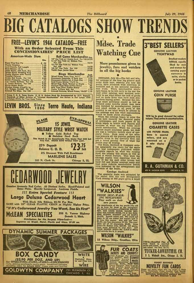 68 MERCHANDISE The Billboard July 29, 1944 BIG CATALOGS SHOW TRENDS FREE-IBM'S 1944 CATALOG -FREE With an Order Selected From This CONCESSIONAIRES' PRICE LIST American -Made Slum taint r1i,t Dow Pin
