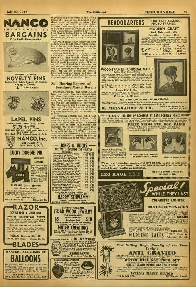 July 29, 1944 The Billboard 'AtIlERCIIANDISE 69 MANC 1 NCORPORATIO BARGAINS Prise Booth -Concessionaire 1. 1V MOTHER OF PEARL NOVELTY PINS asalson Cop. gullet. Torpedo. All I0%411.