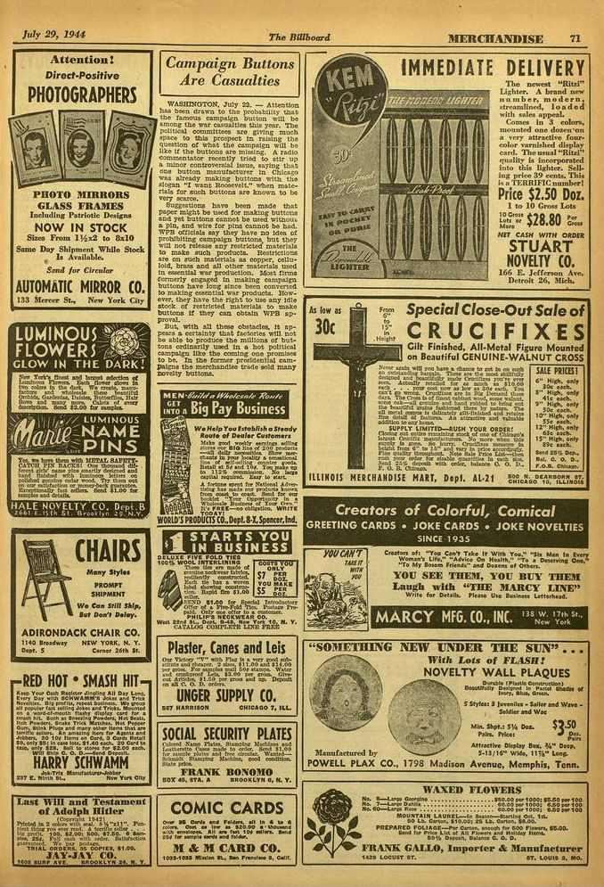 July 29. 1941 The Billboard MIT.IICTIAN'DISE 71 I Attention! Direct -Positive PHOTOGRAPHERS PHOTO MIRRORS GLASS FRAMES Including Patriotic Design's NOW IN STOCK Sixes From 1!
