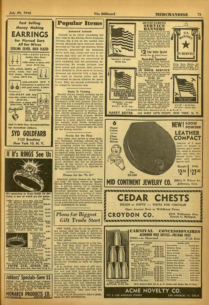 July 29, 1941 The Billboard /tierchandise 73 Fast Selling Money Making EARRINGS for Pierced Ears All Ear Wires STERLING SILVER, GOLD PLATED C T.450 -DROP CROSS. Andhor, Var. Plena $3.60 De..,650-5.1. as above with 'ewe,.