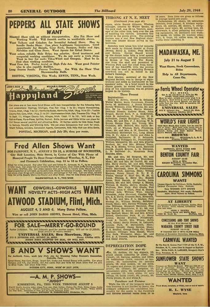 80 GENERAL OUTDOOR The Billboard July 29, 1944 PEPPERS ALL STATE SHOWS WANT Minstrel Show with or without tromportation. Moo Fat Show and Working World. Will fornioli outfits to worthwhile rho.