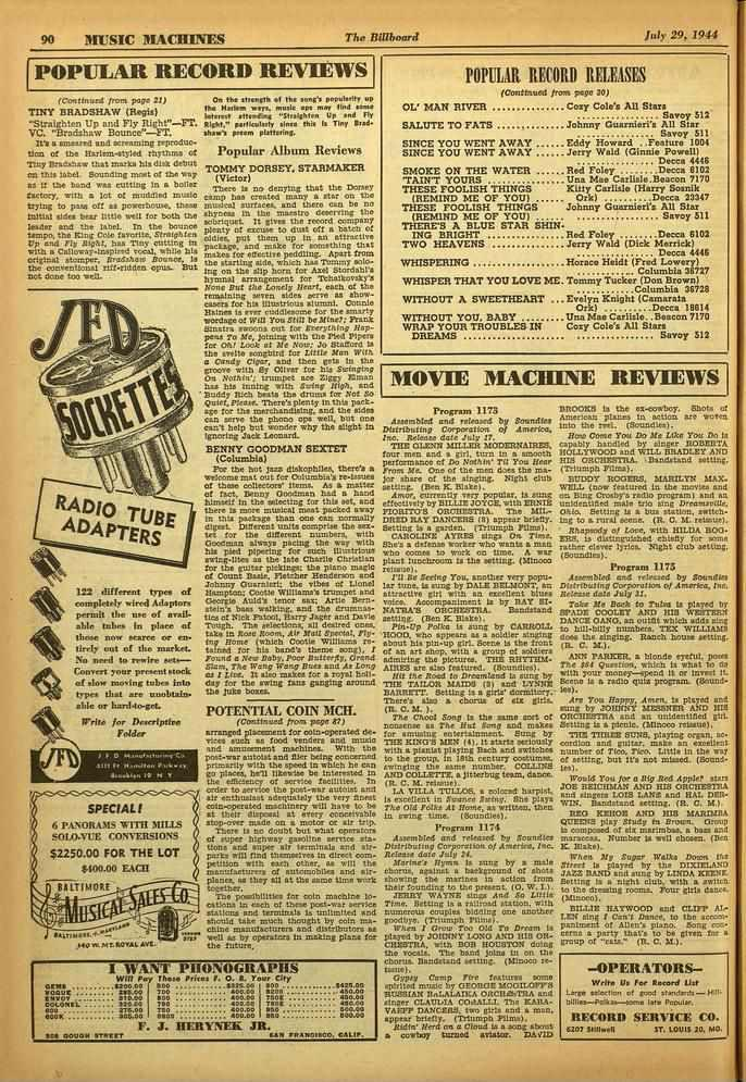 "90 MUSIC MACHINES The Billboard July 29, 1944 POPULAR RECORD REVIEWS (Continued from page :1) TINY BRADSHAW (Regis) -Straighten Up rind Fly Right""-FT. VC. ""Bradshaw Bounce""-FT."