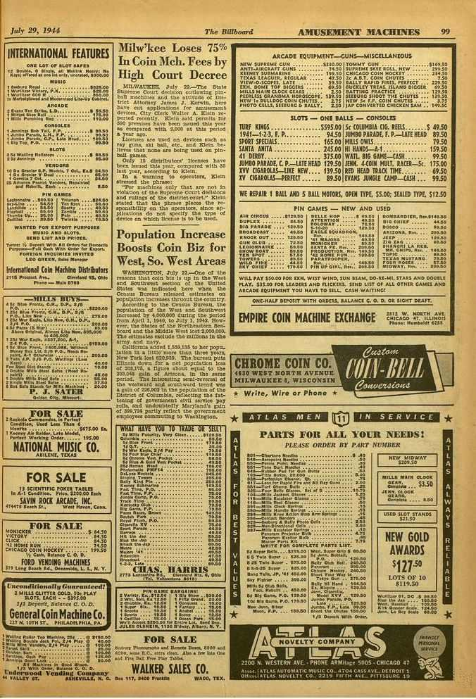 July 29, 191 The Billboard AMUSEMENT MACHINES 99 INTERNATIONAL FEATURES ONE LOT OF SLOT 19 1:14001r. 6 111011*. All Morin Hoary' pi, Ken: ariono1 K 4.e 1.4 enty. u wows, 5300.00 INU$10 1 Swot.