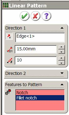 Linear Pattern Select Linear Pattern from the Features toolbar.