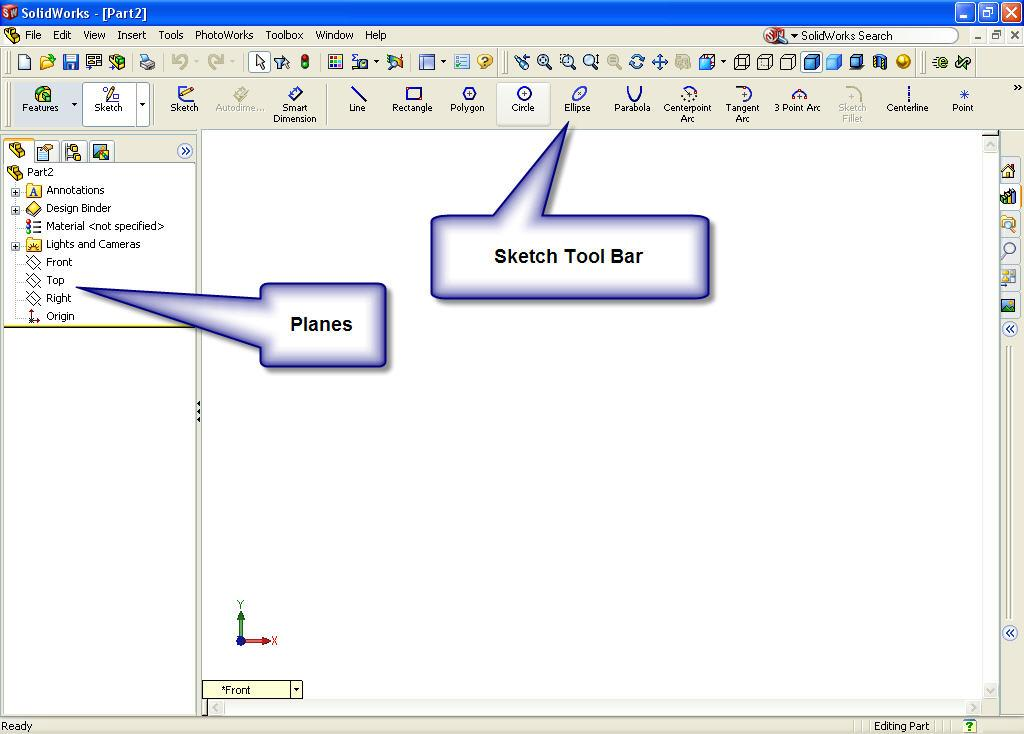 2. Filing a part. Using the Save option from the File menu or selecting the Save button on the Standard toolbar; file the part under the name Candle Holder. The extension, *.