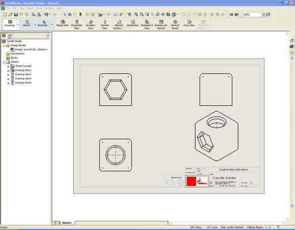 Move Mouse Under the Front Elevation to Create the Plan View / Top View (left Click to position View) 6.