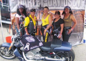 D A T A Motorcycle divas Michelle Hampton, Elaine Thomas, Jan Emanuel-Costley, Cynthia Marcy and Aj Coffee (from left) supported M. D.