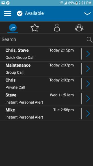 Call from History 1. Tap on the History tab to view the history of Calls and IPAs. History 2. Touch on the conversation you want to call, a call screen will be displayed as shown below.