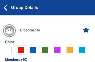 View Group Details Broadcast Talkgroup details (broadcasters only) Broadcast talkgroups are managed by the corporate administrator and can have a large