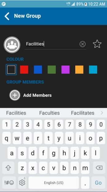 From the Groups tab, tap the Add button located at the bottom of the screen to