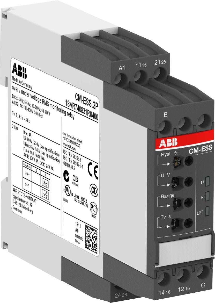 Functions Operating controls 1 Adjustment of the hysteresis 2 Adjustment of the threshold value 3 Indication of operational states U/T: green LED control supply voltage/timing 2CDC 251 249 F0005 1 2
